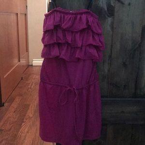 Pink cotton, strapless dress
